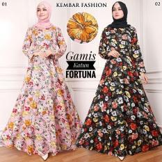 Gamis Katun Bunga Fortuna Warna Hitam (02) No Pasmina