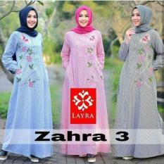 Gamis Katun / Dress Busui / Baju Hijab Motif Bunga : Zahra Dress Strip