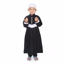 Gamis Koko Anak Laki Laki Stripe V - Putih Hitam