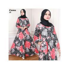 Gamis Maxi Dress Katun Motif Bunga Merah-Hitam  (Emma 40) Tanpa Pasmina