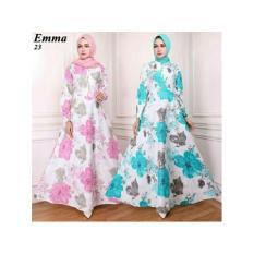 Gamis Maxi Dress Katun Motif Bunga Pink (Emma 23) Tanpa Pasmina