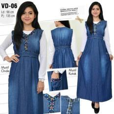 Gamis Maxi Jeans Overall Kancing Rok Panjang Dress Soft Jeans Denim - N9oljo