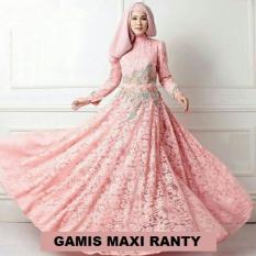Gamis Maxi (M - Fit L) RANTY Peach + Pashmina - Brokat Furing