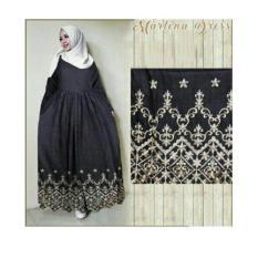 gamis maxi marlena katun denim pakaian wanita baju muslim