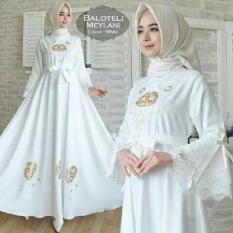 Gamis Meylani Balotelly Putih Fashion Wanita Baju Pesta Busana Muslim