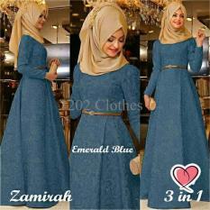 Gamis MTF Hijab Maxi Zamirah 3In1 Blue