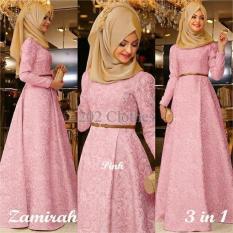 Gamis MTF Hijab Maxi Zamirah 3In1 Pink