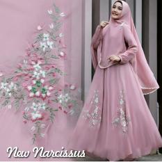 Gamis Narcissus Syar'i Balotelli HQ + Bergo Renda Pikok Dusty Pink