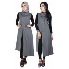 Harga Gamis Pakaian Muslim Wanita Raindoz Rko 021 Abu Abu Katun Terbaru