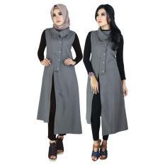 Gamis Pakaian Muslim Wanita Raindoz RKO 021 Abu Abu Katun