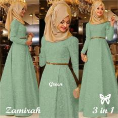 Gamis - Pakaian Wanita Muslimah Pesta - Fashionable - SS Zamirah Green