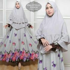 Gamis Pesta Balotelly Zaskia Syari Grey Maxi Dres Baju Busana Muslim