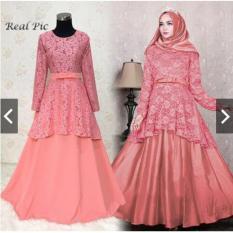 Gamis Pesta Brukat kombinasi Baloteli (Real Pic) - Baju Kondangan Muslimah Premium  - Gamis Syari Pesta - Gaun Pesta Muslim - Kebaya Pesta Modern - Maxy Dress