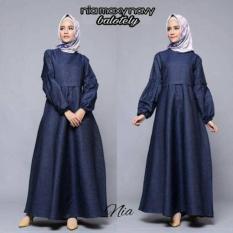 Gamis pesta / Dress Polos formal / Dress Hitam / Hijab murah: Nia Maxy
