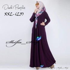 Gamis Polos Jersey Super Umbrella L3 Jumbo | Gamis Syari Jersey Super BusuiSize XXL - (Dark Purple)