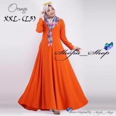 Gamis Polos Jersey Super Umbrella L3 Jumbo | Gamis Syari Jersey Super BusuiSize XXL - (Orange)