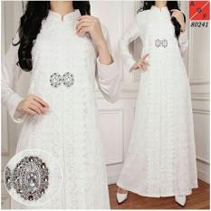 Gamis Putih Brokat Syari Premium untuk Umrah Pesta