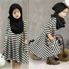 Spesifikasi Uc Gamis Salur Anak Dress Hijab Kaos Blouse Wanita Muslimah 3 5 Tahun Termasuk Pasminah Ripst Jabhi D3C Unicell Distro Terbaru