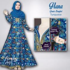 Gamis Songket Hana Busui Respan Turquoise