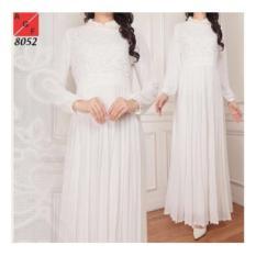 Gamis Syahrini 2018 Baju Muslim Wanita / Baju Gamis Putih Silk Sutra