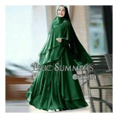 Baju/pakaian wanita muslim-murah-Gamis Syari Ceruty polos/gracella hijau botol By Nurul Collection