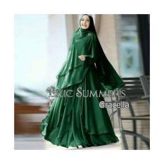 Jual Baju Muslim Wanita Gamis Syari Premium Busui Ceruty Polos Gracella Hijau Murah By Nurul Collection Import