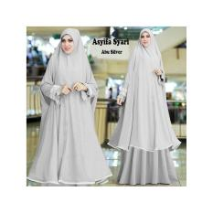 Gamis Syari Murah Asyifa Abu Silver (cantik,terbaru,modern,modis)