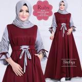 Diskon Gamis Syari Murah Ruby Maroon Dress Baju Muslim Gamis Muslim Murah Wanita Maxi Dress Murah Jawa Barat