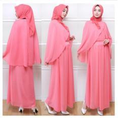 Gamis Syari Pesta Pink Busui Original dg Cape - Baju Kondangan Muslimah Mewah Elegan - Kaftan Premium - Maxy Dress - Kebaya Modern ihjaneta