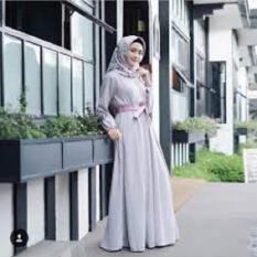 Gamis Syari Ramona Dress Baju Muslim Wanita - abu - abu