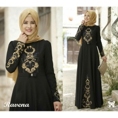 Cuci Gudang Lf Dress Gamis Terusan Maxi Ravina Syari Syar I Simple Elegant Baju Muslim Wanita Kebaya Muslimah Modern Venara Ss Hitam D2C