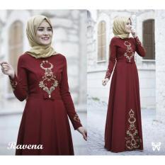 Jual Lf Dress Gamis Terusan Maxi Ravina Syari Syar I Simple Elegant Baju Muslim Wanita Kebaya Muslimah Modern Venara Ss Maroon D2C Syar I Online