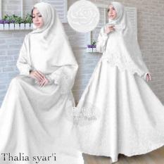 Harga Gamis Thalia Syari Jaquard Glitter Motif Embos Putih Thalia Original
