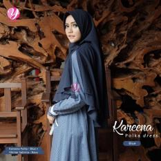 Gamis Yasmeera Kareena Polka Dress Blue - Baju Muslim Wanita Baju
