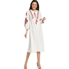 Gamiss Puff Sleeve Floral Patched Dress With Tassels White Intl Original