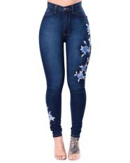 Gamiss Wanita Bordir Tinggi Pinggang Jeans Skinny Denim Celana-Intl