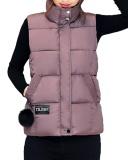 Spesifikasi Gamiss Musim Dingin Wanita Berdiri Kerah Zip Up Front Gilet Berlapis Empuk Jaket Rompi With Pocket Pink Murah