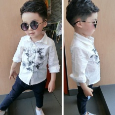 Gargon D Boys Cotton Kemeja Putih Childrens Pakaian Anak-anak Bayi Springand Gaun Musim Gugur Kemeja Lengan Panjang Gaya Korea Kecil Boy Shirt3-8 Tahun-Intl