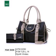 Garsel Fashion Fak 5208 Tas Handbag Bisa Selempang + Dompet Wanita-Synth Virotex-Keren (hitam Kombinasi)