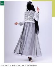 Garsel Fashion Fdm 0013 Gamis Panjang Muslimah Wanita-Velvet-Bagus(Abu)