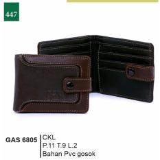 Garsel Fashion Gas 6805 Dompet Lipat Pria-Pvc Gosok-Keren (coklat)