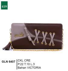 Spesifikasi Garsel Fashion Gln 6407 Dompet Selempang Wanita Victoria Bagus Coklat Cream Online