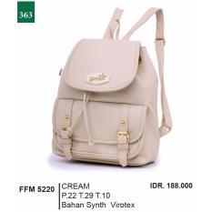 Garsel Fashion Tas Ransel / Tas Gendong Wanita FFM 5220 - CRE Bahan Synth Virotex