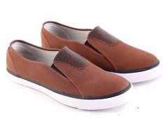 Jual Garsel L095 B Sepatu Casual Slip On Pria Synth Bagus Coklat Murah