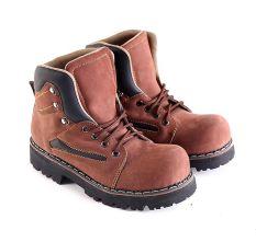 Garsel L151 Sepatu Safety Boots Pria - Kulit Buck - Bagus (Coklat)