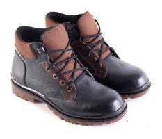 Garsel L163 Sepatu Safety Boots Pria - Kulit Super - Bagus (Hitam-Coklat)