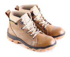 Jual Garsel L166 Sepatu Safety Boots Pria Kulit Super Keren Cream Indonesia Murah