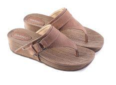 Garsel L426 Sandal Wedges  Wanita - Synth - Bagus (Coklat)