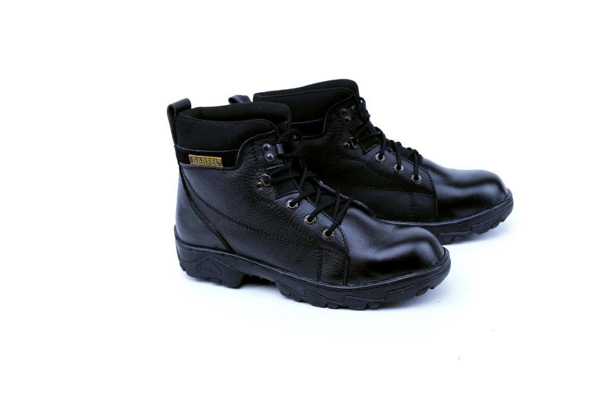 Garsel Shoes GRN 2506 Sepatu Safety Boot Pria-Premium Leather-Karet - -New Katalog Bagus Kuat(Hitam)