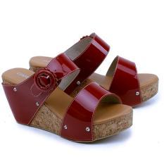 Garsel Shoes Sandal Wedges GCT 4286 Sepatu Fashion Wanita-Merah Bata 8Cm Synth